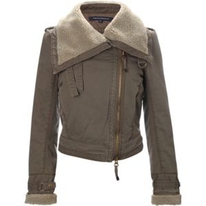 French Connection Cropped Army Twill Flying Jacket